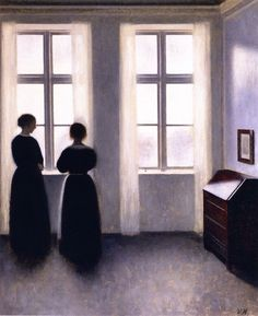 Vilhelm Hammershøi - Figures by a Window, 1895 [via http://villettess.tumblr.com/post/52181171536]