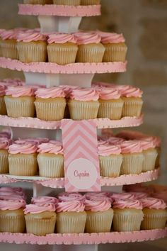 Idea: instead of a large cake at a special party, serve a ton of cupcakes! 1st Birthday Princess, 1st Birthday Party Themes, Baby Girl First Birthday, Baby Girl Birthday, Birthday Ideas, Chevron Birthday, Pink Cupcakes, Pink Parties, Cupcake Party
