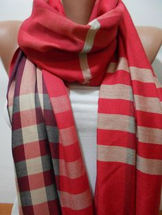 Red+Plaid+Scarf+Shawl+Crimson+Cowl+Scarf+Check+by+ScarfClub,+$19.50