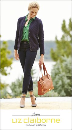 Casual perfection with a pop of green.  Recreate this look with Liz Claiborne, available exclusively at JCPenney.