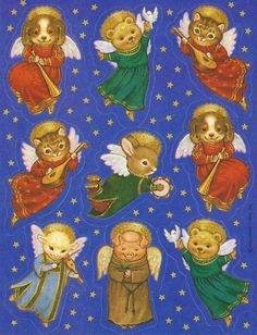 VTG ANGEL ANIMALS STICKER SHEET HALLMARK