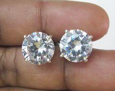 Dazzling White Cubic Zircon Gemstone Sterling Silver Stud Earrings US - 4180 #SilvestoIndia #Stud