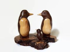 Penguin Family of 3, Wood Carving, 5th Anniversary, Wedding Anniversary Gift, New Baby Gift,  Free Shipping by NorthwoodsCarvings on Etsy