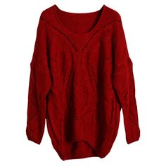 Cable Knit Hollow Red Jumper ($52) ❤ liked on Polyvore