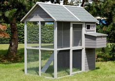 Poulailler en bois teinté gris pour poules traditionnelles et poules naines. Le modèle Medium Square 2 est visible sur animaleco.com