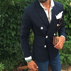 Latest Coat Pant Designs Navy Blue Double Breasted Peaked Lapel Formal Custom Wedding Suits For Men Slim Fit 1 Piece Terno 534 Sharp Dressed Man, Well Dressed, Terno Casual, Moda Do Momento, Style Masculin, Outfits Casual, Mens Fashion Blog, Men's Fashion, Fashion Guide
