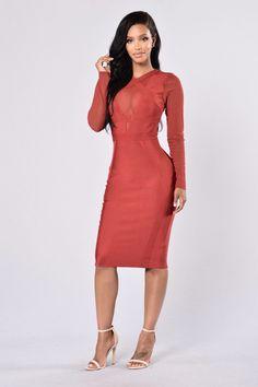 - Available in Deep Red - Bandage Dress - Midi Length - Long Sleeve Mesh - Mesh V Neck Insert - Scoop Neckline - Form Fitting - Zipper Back Closure