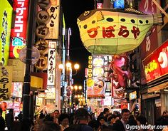 """Kuidaore, a Japanese word meaning """"to ruin yourself with extravagant food,"""" has become synonymous with the city of Osaka. How could we possibly not love this place? http://www.gypsynester.com/osaka.htm"""