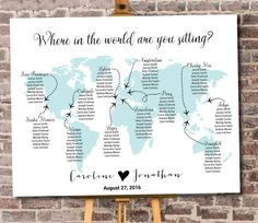 "World Map Seating Chart Printable Digital Personalized File ""Where in the World are you sitting?"" - Travel Theme - Destination"