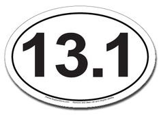 """Number one seller in entire store along with the 26.2 runner magnet!  Clean design says it all.Buy our Magnetic 13.1 Half Marathon Car Magnets in this elegantly simple design. This 4"""" x 6"""" 13.1 mile marathon oval magnet is manufactured and printed in the USA on premium quality, thick (.030) magnetic material with top quality, UV protected inks. Be sure to remove, clean and reposition your magnet every week or so."""