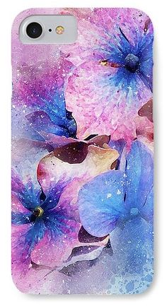 IPhone 7 Case featuring the photograph Blue And Purple Flowers by Judi Saunders. Available in several models.