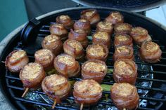 Pig shots - bacon wrapped around sausage with cream cheese filling cooked on BGE Smoked Sausage Recipes, Bacon Sausage, Bacon Recipes, Grilling Recipes, Appetizer Recipes, Tailgating Recipes, Healthy Grilling, Vegetarian Grilling, Barbecue Recipes