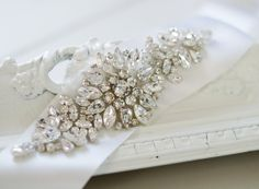 Wedding Gown Sash Belt Rhinestone Beaded by bellesandcrystals, $225.00