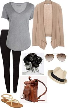 Perfect outfit for the airport.  Gray tee, tan cardigan, black leggings, flat sandals, fedora hat.  Grab these airport-perfect leggings that will keep you warm and comfy on the plane for your own airport look.