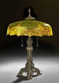 Buy online, view images and see past prices for Steuben Pulled Feather and Tortoise Glass Lamp. Invaluable is the world's largest marketplace for art, antiques, and collectibles. Old Lamps, Antique Lamps, Antique Lighting, Vintage Lamps, Art Nouveau, Brass Lamp, Pendant Lamps, Pendant Lights, Steuben Glass