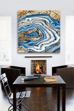 Bleu Agate Canvas Art