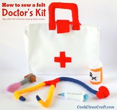 How to sew a Felt Doctor's Kit - cute pattern book review. Great toy to add to the dress up or costume box. Perfect play toy for boys and girls. DIY craft