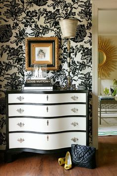 traditional entry by Tobi Fairley Interior Design<--i officially want to do this to my dresser..w/the wallpaper too:)