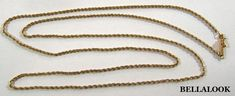 "ESTATE VINTAGE 2mm 26"" LONG 14K SOLID YELLOW GOLD ROPE CHAIN NECKLACE 4.1g #ROPE"