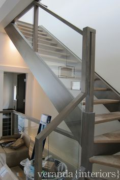 modern gray stained staircase.. a gloss gel ebony black stained handrail with this would look nice too!