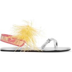 Prada Feather-embellished metallic leather sandals (£690) ❤ liked on Polyvore featuring shoes, sandals, silver, leather shoes, metallic leather sandals, leather slingback sandals, metallic sandals and velcro shoes
