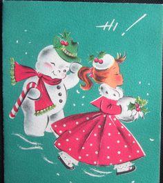 Vintage Christmas Greeting Card Flirty Snowman & Girl in Poka Dot Dress