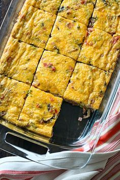 Veggie Ham Egg and Cheese Bake - Make this easy breakfast bake for a large gathering or make it ahead so you have breakfast for the week. You can swap the ham for sausage or whatever you prefer, and use your favorite vegetables. This freezes well and can also be baked in muffin tins.