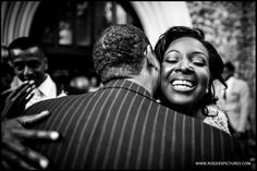 Wedding congratulations outside Kensington Temple after the ceremony -