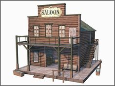 by Raahl max western buildings - Western Buildings Collection, Low Poly, Textured. by Raahl Western Saloon, Old West Saloon, Westerns, Bar Country, Play Houses, Bird Houses, Building Plans, Building A House, Forte Apache
