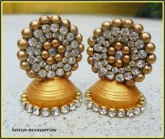 golden quilled jhumka