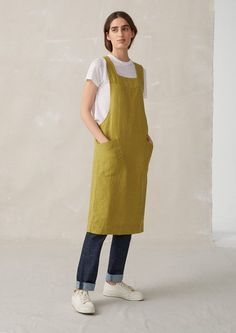 Organic cotton bed linen, washed linen/cotton bed linen, velvet throws, hand thrown ceramics and essential oil glycerine soaps. Long Linen Dresses, Waiter Uniform, Just Style, Linen Apron, Check Dress, Grey Fashion, Simple Outfits, Beautiful Outfits, Lounge Wear
