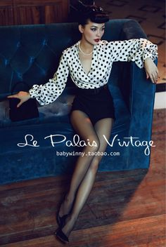 Aliexpress.com : Buy Le Palais Vintage Limited elegant black and white dots lantern sleeve splicing Wooled Shorts /women jumpsuit from Reliable wool coat plus size suppliers on Vintage Palace | Alibaba Group