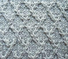 Knitting Resources - Lattice, Lozenge, or Diamond Knitting Stitch (free pattern & step-by-step tutorial) Knitting Stiches, Cable Knitting, Knitting Patterns Free, Knit Patterns, Free Knitting, Knit Stitches, Free Pattern, Knit Edge, Edge Stitch