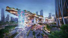 Futuristic Architecture, Concept Architecture, Future Buildings, Mall Design, Shopping Street, Shopping Mall, Public Realm, Commercial Construction, Pedestrian Bridge