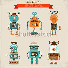 set-of-cute-hipster-vintage-robots_153267644.jpg (379×382)