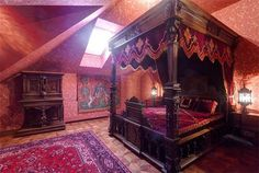 WICCAN DECOR GOTHIC BED   wallpaper is a great idea, other type as well