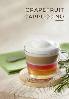 This refreshing Grapefruit Cappuccino from Nespresso looks almost as good as it tastes. Wake up your senses with the taste of grapefruit, honey, and rosemary. With spring soon on its way, this citrus coffee beverage is the perfect way to celebrate the end of cold weather.