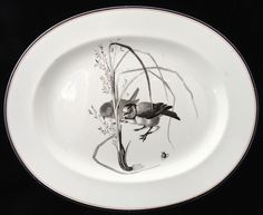 Brown-Westhead Moore & Co plate in their Canova pattern Porcelain Ceramics, Platter, Old And New, Art Nouveau, Decorative Plates, Arts And Crafts, Victorian, Birds, Antiques