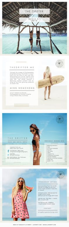 Four-page postcard-inspired media kit PDF design for travel & surf blog The Drifter, run by photographer Ming Nomchong. The media kit incorporates an existing logo and some of her stunning fashion and ocean photography.