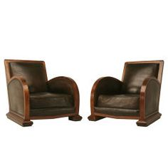 Awesome Pair of French Art Deco Leather & Walnut Club Chairs. I could easily settle into one of these while reading The Times.