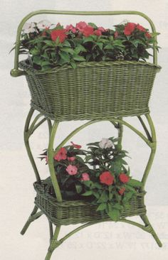 Wicker...  This would be ideal for a sunroom or porch.