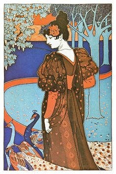::::♡ ♤ ♤ ✿⊱╮☼ ☾ PINTEREST.COM christiancross ☀❤ قطـﮧ‌‍ ⁂ ⦿ ⥾ ⦿ ⁂  ❤U •♥•*⦿[†] ::::Art Nouveau Poster - Peacock - from the 1890's.