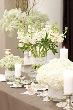 white and lace| wedding tabletop, centerpiece decoration idea