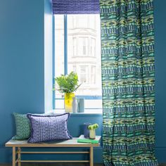 The Koko design is inspired by pattern play and collage design created in our studio. Featuring stripes of soft geometric shapes in shades of forest greens and sea blues. Bluebellgray, Collage Design, Modern Prints, Geometric Shapes, Printing On Fabric, Upholstery, Curtains, The Originals, Studio