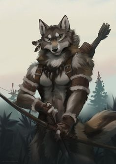 Hunter by koul Anime Furry, Anime Wolf, Anime Neko, Wolf Character, Fantasy Character Design, Character Concept, Concept Art Landscape, Animal Illustrations, Fantasy Creatures