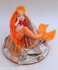 Sleepy shell mermaid Dorianna sea maiden in orange ooak art doll miniature sculpture by katjasdreamland on Etsy