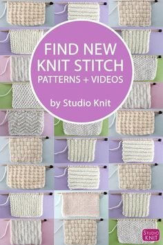 Find NEW Knit Stitch Patterns and Videos by Studio Knit for Beginning Knitters An entire collection of favorite Knit Stitch Patterns, with easy level patterns, intricate lace eyelet, brioche textures, cable stitches and more! Beginner Knitting Patterns, Knitting Basics, Dishcloth Knitting Patterns, Knitting Stiches, Knitting Charts, Easy Knitting, Knitting For Beginners, Loom Knitting, Knitting Projects