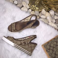"""COACH Sydney Slingback wedge Pre loved and in good condition. Normal wear to the sole and to the edges of the wedge but no rips or stains. All """"C"""" monograms are in tact and in great condition. Coach Shoes Sandals"""