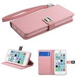 Iphone 5C Magnetic Flip Wallet Pouch Case Cover w/ Card Slot-(PINK)