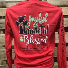 Southern Chics Joyful Thankful & Blessed Christmas Cross Long Sleeve Girlie Bright T Shirt
